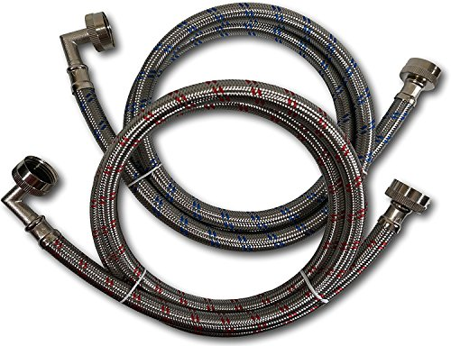Nipple Inlet Connection - Premium Stainless Steel Washing Machine Hoses with 90 Degree Elbow, 4 Ft Burst Proof (2 Pack) Red and Blue Striped Water Connection Inlet Supply Lines - Lead Free