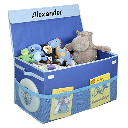 Personalized Monogrammed G.U.S. Kids Collapsible Toy Chest with Flip-Top Lid and Mesh Pockets, Large, Blue Personalized Toy Bin
