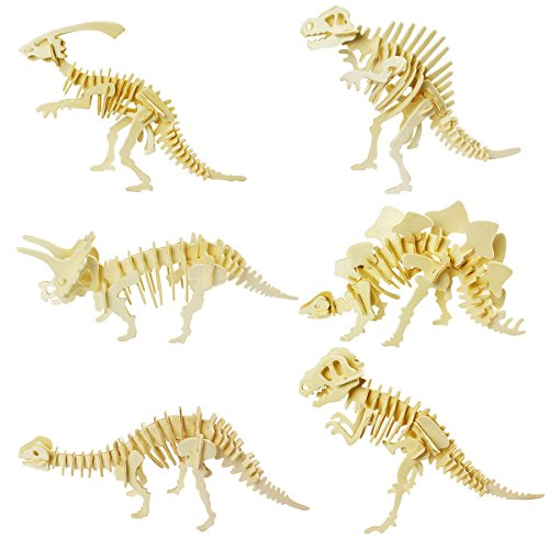 (calary 3D Wooden Puzzle Simulation Animal Dinosaur Assembly DIY Model Toy for Kids and Adults,Set of 6)