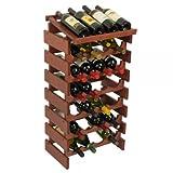 SKB family 28 Bottle Dakota Wine Rack with Shelf, 17.62'' x 34.875'' x 12.875'' x 17 lbs, Mahogany