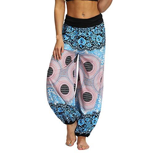 Beyonds Women Loose Yoga Wide Leg Hippie Pants Travel Lounge Casual Beach, Women's Boho Pants Hippie Clothes Yoga Outfits Peacock Design