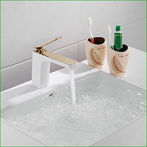 Bijjaladeva Antique Kitchen Sink Mixer Tap The Copper gold Grill White Paint Bathroom Faucet Deluxe Single Hole Kitchen Faucet Basin Mixer Water Single Line