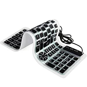 YUMQUA Portable Wired USB Flexible Foldable Silicone Numeric Washable Keyboard Soft Waterproof Roll up Ultra-Slim 107 Keys for iPad Laptop PC Mobile Devices