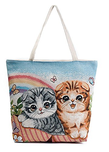 VigourTrader Embroidery Pattern Women's Canvas Tote Bag Two Strap Shoulder Bag Emroidery Cute Cats Tourist Bag Shopping (Cat 2 Embroidery)