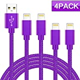 WUXIAN MFi Certified Phone Cable 4Pack 3FT 3FT 6FT 6FT Nylon Braided USB Charging & Syncing Cord Compatible iPhone X iPhone 8 8 Plus 7 7 Plus 6s 6s Plus 6 6 Plus iPad iPod Nano-Purple