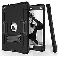 Estuche para el nuevo iPad 2018/2017 Estuche, iPad 6ta / 5ta generación Robot Guard Absorción de golpes en todo el cuerpo Robusta Funda protectora de silicona delgada para nuevo iPad 9.7 pulgadas (A1893 / A1822 / A1823)(Negro + negro)