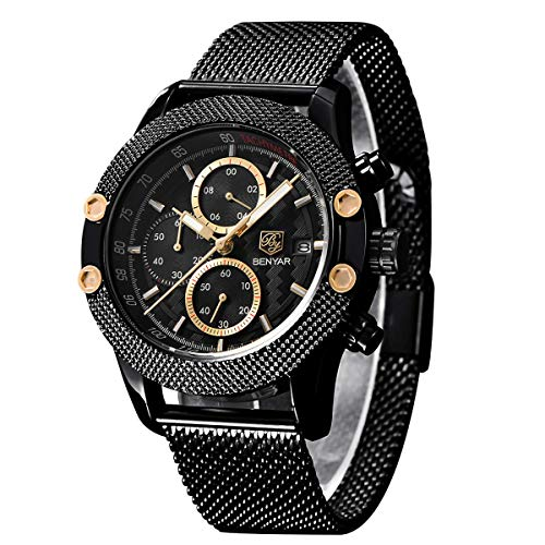 BENYAR Men Watch Quartz Chronograph 3ATM Waterproof Business Fashion Casual Sport Stainless Steel Mesh Band Gift for Men Father Friend(Black Gold) (Ben And Sons Mens Watch)