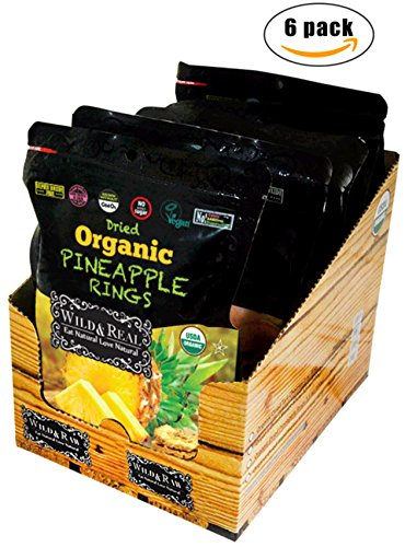 Wild Pineapple (Organic Sun-Dried Pineapples - 3.5oz (Pack of 6) - Kosher and Non-GMO)