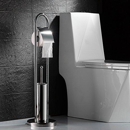 Auralum porta spazzolino wc set da bagno cromato scopino - Porta carta igienica da terra ...