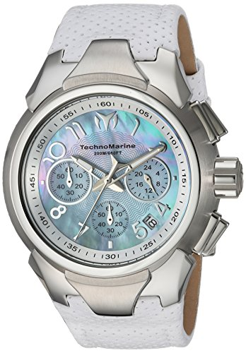 Technomarine Women's 'Sea' Quartz Stainless Steel and Leather Casual Watch, Color:White (Model: TM-715031)