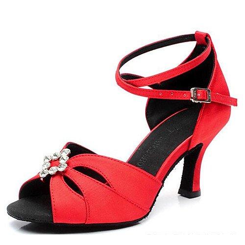 T.T-Q Chaussures de Danse pour Femmes Strass Rouge Satin Talon Aiguille