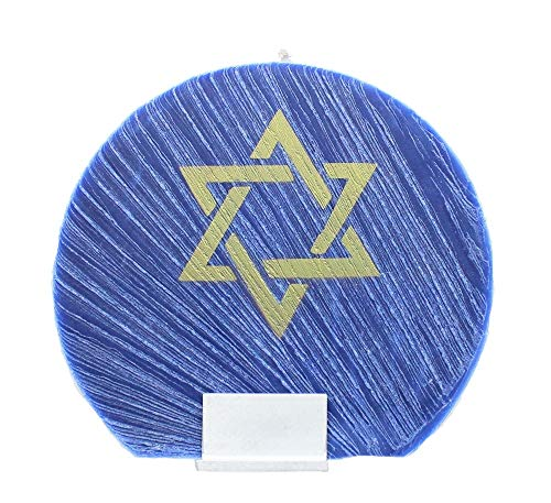 Star of David Blue Flat Circle Candle with Holder, 6.5