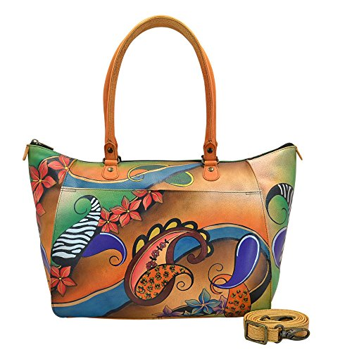 Anuschka Anna by Handpainted Leather Large Tote, Paisley Collage by Anna by Anuschka