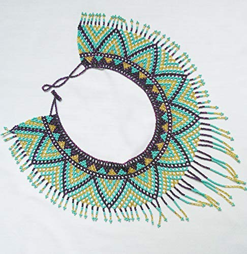 Mexican native American turquois gold brown seed bead necklace geometric bib design