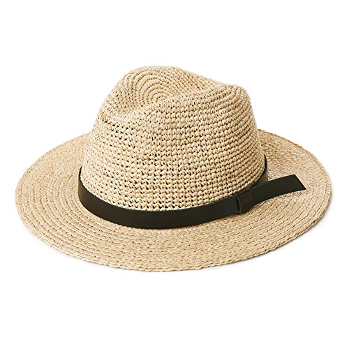 Mens Packable Belt Buckle Raffia Straw Fedora Panama Sun Summer Beach Hat for Large Head Women Beige 56-60cm
