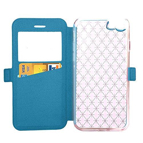JIALUN-carcasa de telefono Cubierta de la caja del iPhone del cuero de la PU de la caja de la ventana de la PU del tirón del patrón de celosía con la ranura para tarjeta para Apple iPhone 7 ( Color :  Blue