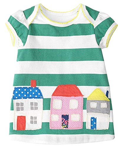 Fiream Grils Cotton Striped Dresses Shortsleeve Animal Appliques T-Shirt Casual Dresses -