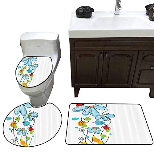 - 3 Piece Toilet mat Set Ladybugs Decorations Flowers and Oval Dome Shaped Ladybugs Illustration Never Ending Love Story Luck Symbol 3 Piece Toilet Cover Set Multi