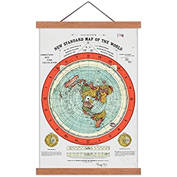 Amazon flat earth map gleasons new standard map of the world flat earth map gleasons new standard map of the world large 24x36 canvas print scroll poster with teak wood frame ready to hang gumiabroncs Gallery