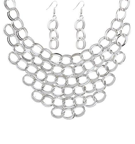 Isaloe Women Choker Necklace Statement Crochet Bib Necklace Earring Sets - Statement Bold