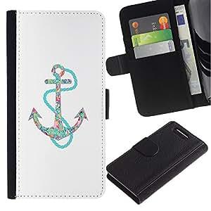 For Sony Xperia Z1 Compact / Z1 Mini / D5503,S-type® Anchor Teal White Minimalist Boat Sea - Dibujo PU billetera de cuero Funda Case Caso de la piel de la bolsa protectora