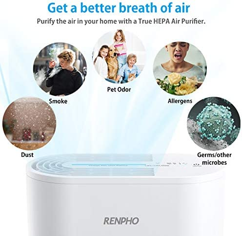 RENPHO Air Purifier with True HEPA Filter, Air Purifier for Allergies and Pets, Compact Air Cleaner for Bedroom Kitchen Home Office, Eliminate 99.97 Odors Smokers Mold Pollen Dust for Kids Room