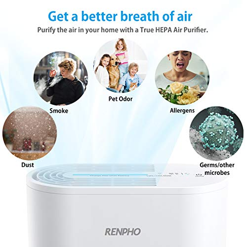 RENPHO Air Purifier for Home Allergies and Pets, Air Purifiers for Bedroom with True HEPA Filter, Air Cleaner for Smokers Office Child Room, Eliminates Allergens Odors Mold Dust Pet Dander