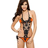 Blidece Womens Lace Handmade Flower One Piece Bikini Swimwear Monokinis