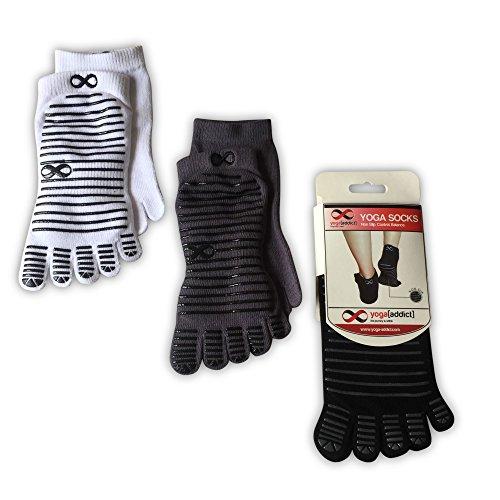 YogaAddict Yoga, Pilates, Barre Full Toe Socks with Grips, 1 & 3 Pairs Set, Anti Non Slip Skid