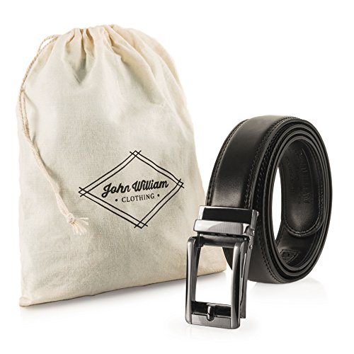 Men's Genuine Leather Dress Belt: Stylish Designer Quality Linxx Style Custom Comfort Fit Open Buckle Ratchet Black Belts for Business or Formal Wear