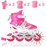 Tuko Adjustable Inline Skates for Girls with Protective Pads