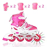 Tuko Adjustable Inline Skates for Girls with Protective Pads (Big Kid 2M/3M/4M)