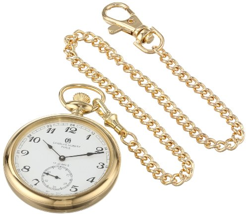14k Watch Stainless Pocket Steel - Charles-Hubert, Paris Gold-Plated Open Face Mechanical Pocket Watch