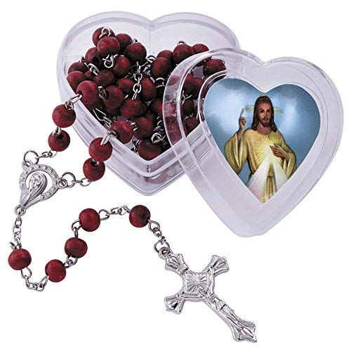 Divine Mercy Rose Scented Rosary with Heart Shaped Box Gift Set, 18 1/2 Inch
