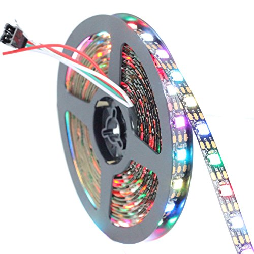 INVOLT 16.4FT 300 Pixels WS2812B Programmable Addressable LED Strip Light Black PCB 5050 RGB Dream Color Flex LED Rope Light DC5V Not Waterproof