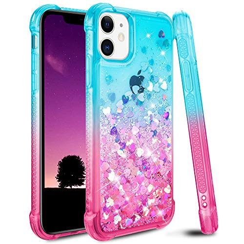 Ruky Glitter Case for iPhone 11 Case for Girls, Gradient Quicksand Series Bling Flowing Liquid Floating Soft TPU Bumper Cushion Women Case for iPhone 11 6.1 inches 2019 (Teal Pink)