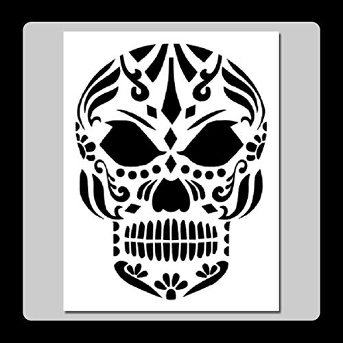 7 X 9 inch Evil Sugar Skull Face Stencil Template Day of The Dead/Mexican Halloween/Death