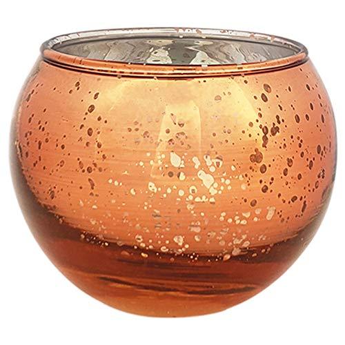 (Just Artifacts Round Mercury Glass Votive Candle Holder 2