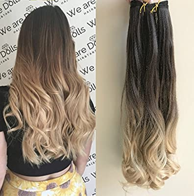 20 Inches Full Head Ombre Dip Dyed Loose Curls Wavy Curly Clip-in Hair Extensions 6pcs Pack