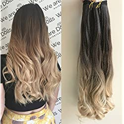 """25"""" Inches Half Head One Piece Long Wavy Clip in Hair Extensions Ombre 2 Tones DL (Dark brown/sandy blonde)"""
