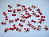 Nail Art 3d 40 Pieces Mix Red Hello Kitty/Bow for Nails, Cellphones 1.3cm*.9cm