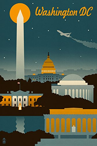 Washington, DC - Retro Skyline (9x12 Art Print, Wall Decor Travel Poster) (Retro Color Washington)