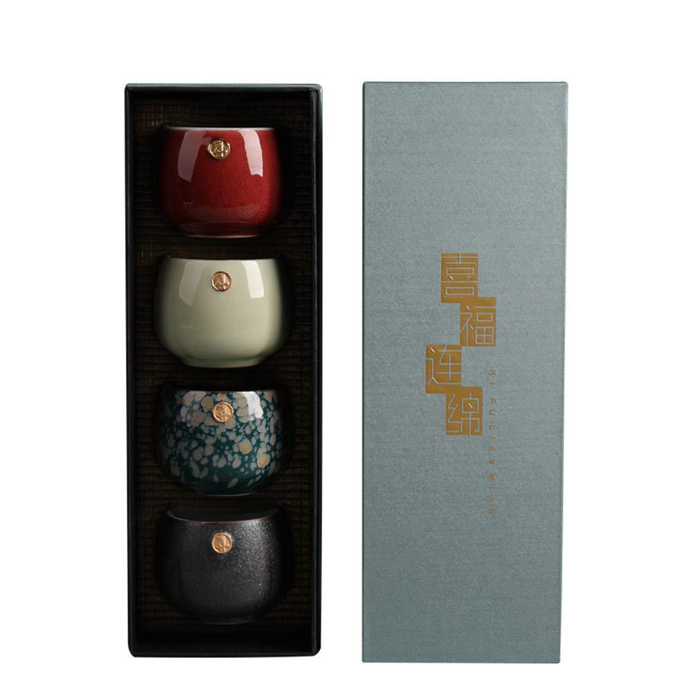 MIRUIKE Handcraft Ceramic Sake Cup Set Mug Japanese Sake Cups Teacup Sake Drinks 4pcs