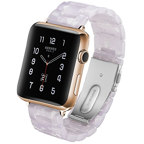 Plastic Link Band - CSVK Resin Band for App le Watch Band 38mm 40mm Men Women Compatible with iWatch Series 4 3 2 1 Band, Replacement Lightweight Waterproof Strap with Stainless Steel Buckle