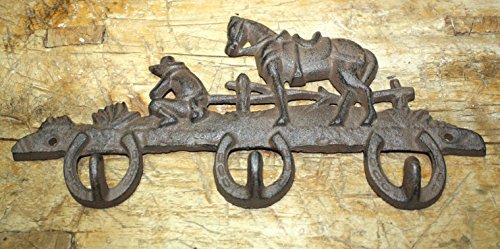 (Vintage Antique Hooks Cast Iron Horseshoe Horse Towel Coat Hooks Hat Hook Key Rack Cowboy Rustic Ranch)