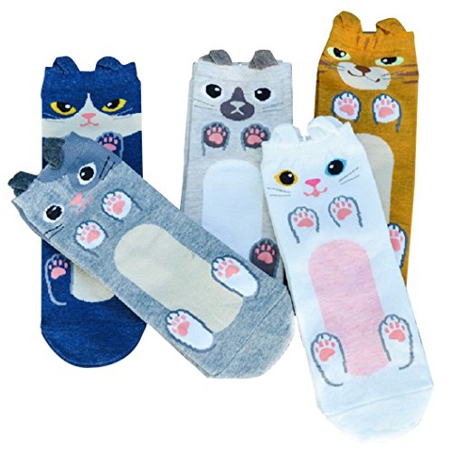 5 Pairs Women's Cute Socks Fun Cat Funky Novelty Cotton Girl Gift (Kitten)