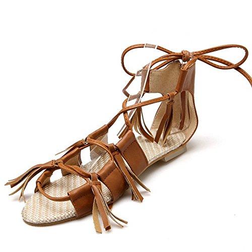 COOLCEPT Women Fashion Lace Up Sandals Open Toe Flat Shoes Yellow