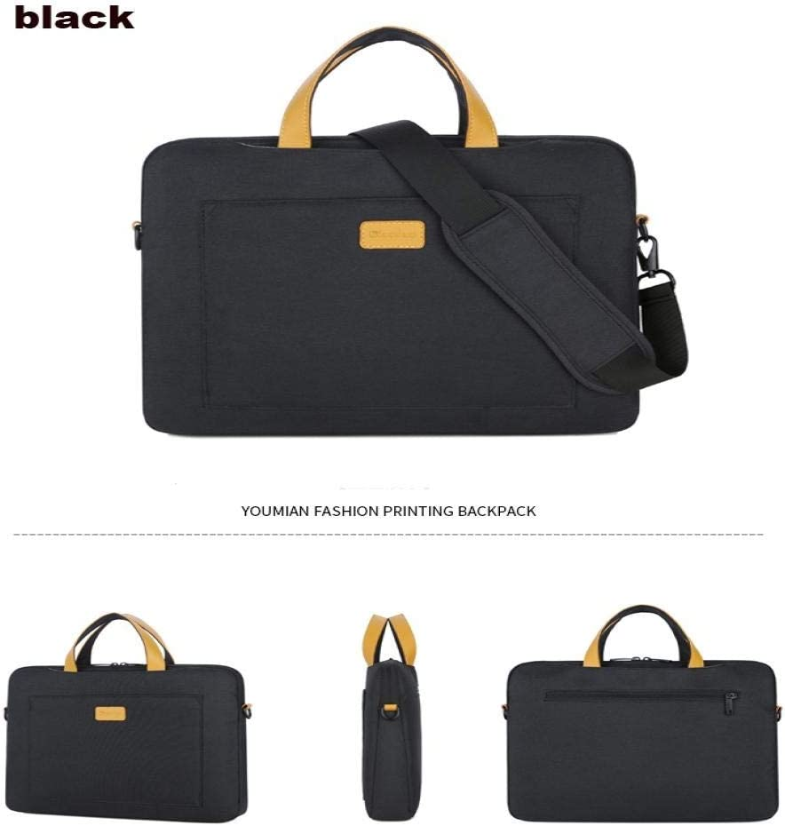 Color : Black, Size : 14-inch Pearlshop Nylon 13 14 15.6 Laptop Shoulder Bag Sleeve Pouch Bag for Xiaomi Air MacBook Air Pro Lenovo Dell HP Asus Acer Notebook Case Black and Light Grey