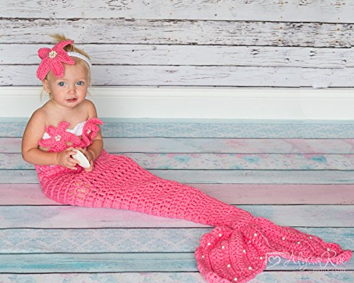 Bubble Gum color, Mermaid Crochet photo prop set, Newborn to teen,Photography Outfit, Handmaid Boutique, mermaid Costume - Bubblegum Baby Costume