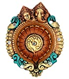 Ramya's Handpainted Earthen Terracotta XL Size Decorative Laxmi Ganesh Diya (7103)